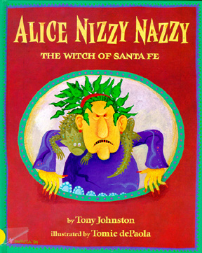 The book jacket shows the witch Alice Nizzy Nazzy.