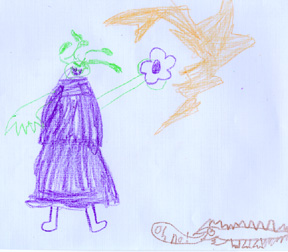 This is a drawing of Alice Nizzy Nazzy and the black cactus flower scene.