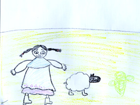 This is a drawing of when Manuela gets her sheep.