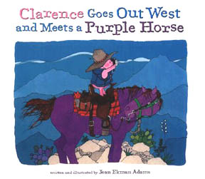 The book jacket shows a pink pig riding a  purple horse.