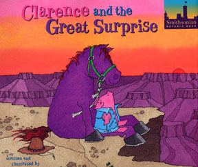 the book jacket shows Clarence the city pig and Smoky the purple horse on the side of a canyon.