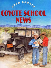 The book jacket shows a 1930's car/school bus stuck in the desert Southwest.