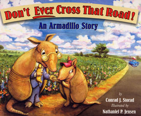 The book jacket shows the teacher armadillo giving advice to a student armadillo.