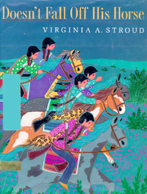 This book jacket shows the Kiowa children riding to the enemy village.