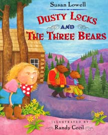 The book jacket shows Dusty Locks a dirty little cowgirl hiding behind the mountain trees waiting for the grizzly family to leave.