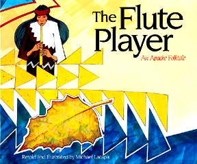 The book jacket shows an illustration of the flute player playing his flute.  Below him is an illustration of a leaf floating down a river.