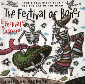 The book jacket shows two skeletons dancing for the celebration.