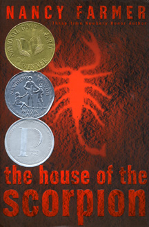 The book jacket shows a red scorpion.