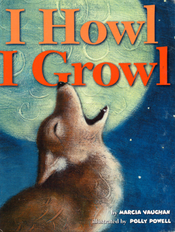 The book jacket shows a coyote howling at the moon.