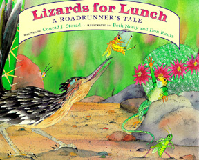 The book jacket shows a roadrunner trying to catch a bug