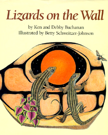 The book jacket shows 2 lizards crawling on a rock wall at night.