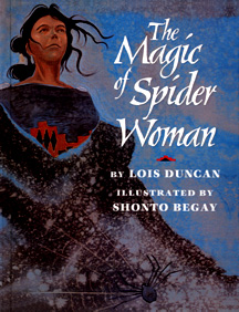 The book  jacket shows a woman wearing a blanket; a spider is on the blanket.