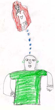 This image shows the student imagining a clown without one leg.