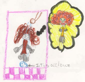 "The image shows a student imagining the character ""It"" from a movie"