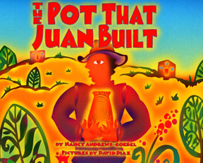 The book shows Juan holding a pot in the desert landscape.