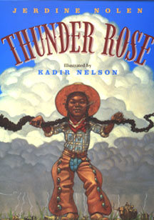 This is the book jacket. The book jacket shows Thunder Rose holding a thunder bolt.