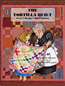 The book jacket shows  a grandma wrapping a quilt around two girls.