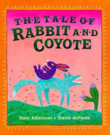 The book jacket shows a very mean rabbit who is trying to trick coyote into thinking that he is his friend.